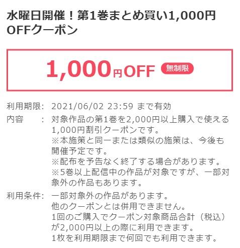 水曜日1000円OFFクーポン詳細